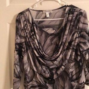 Dress Barn Tops - Dressbarn 3/4 Sleeve Blouse Black and Gray